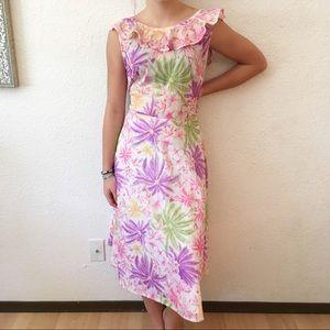 70s Ruffle Neck Fit Flare Floral Aloha Sun Dress